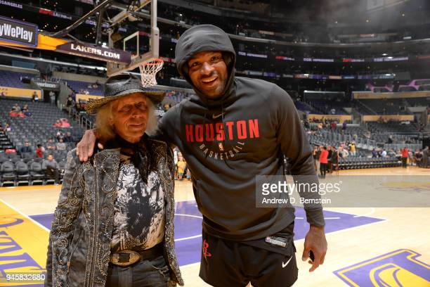 James Goldstein and PJ Tucker of the Houston Rockets pose for a photo before the game against the Los Angeles Lakers on April 10 2017 at STAPLES...