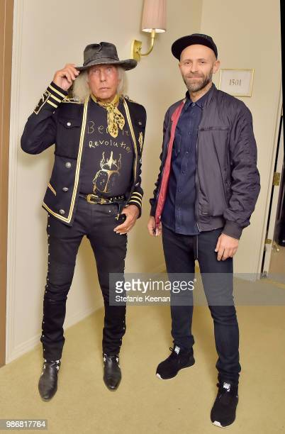 James Goldstein and Stefano Rosso attend Diesel Presents Scott Lipps Photography Exhibition 'Rocks Not Dead' at Sunset Tower on June 28 2018 in Los...