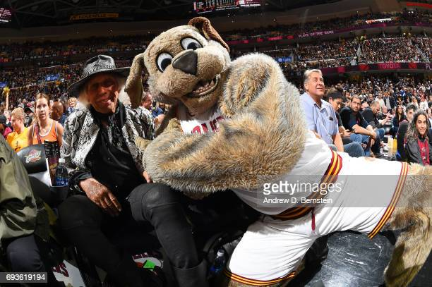 James Goldstein and the Cleveland Cavaliers mascot pose for a photo in Game Three of the 2017 NBA Finals on June 7 2017 at Quicken Loans Arena in...
