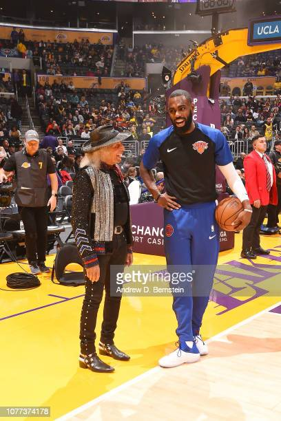 James Goldstein and Tim Hardaway Jr #3 of the New York Knicks chat before the game against the Los Angeles Lakers on January 4 2019 at STAPLES Center...
