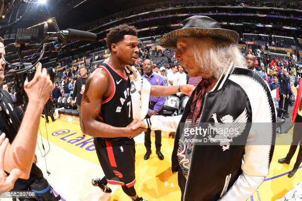 James Goldstein exchanges handshakes with Kyle Lowry of the Toronto Raptors after the game against the Los Angeles Lakers on November 4 2018 at...