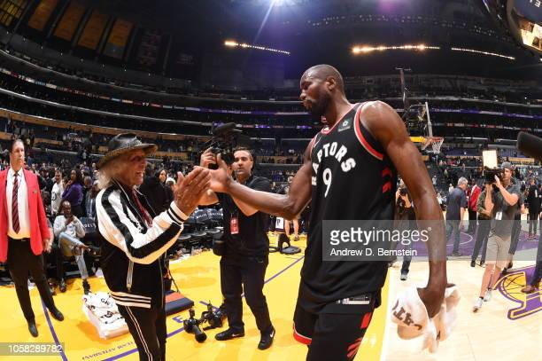 James Goldstein exchanges handshakes with Serge Ibaka of the Toronto Raptors on November 4 2018 at Staples Center in Los Angeles California NOTE TO...