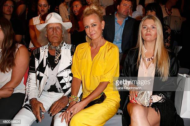 James Goldstein Jenny Elvers and AnneSophie Briest attend the Dimitri show during the MercedesBenz Fashion Week Berlin Spring/Summer 2016 at...