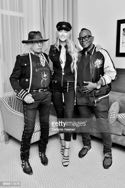 James Goldstein Jessica Michel Serfaty and Randy Jackson attend Diesel Presents Scott Lipps Photography Exhibition 'Rocks Not Dead' at Sunset Tower...