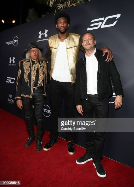 James Goldstein Joel Embiid and David Spencer Attend Tequila Avion hosts NBA AllStar After Party presented by Talent Resources on February 17 2018 in...