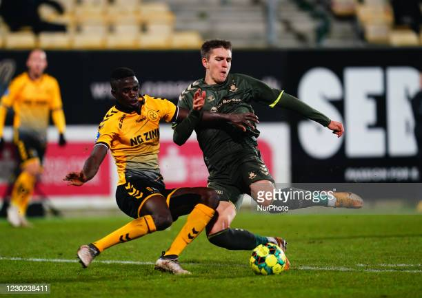 James Gomez of AC Horsens and Mikael Uhre of Brøndby in action during the Superliga match between AC Horsens and Brøndby at CASA Arena, Horsens,...