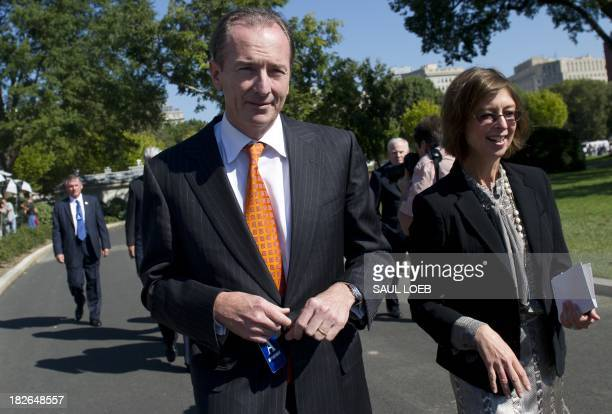James Gorman Chairman and CEO of Morgan Stanley arrives for a meeting of the Financial Services Forum with US President Barack Obama at the White...