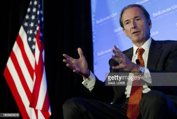 James Gorman Chairman and CEO of Morgan Stanley speaks about the state of the US and global economy and health of Morgan Stanley during remarks at...