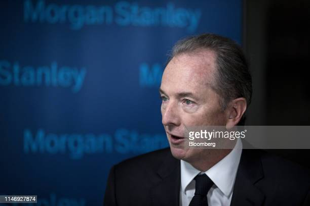 James Gorman chairman and chief executive officer of Morgan Stanley speaks during a Bloomberg Television interview in Beijing China on Thursday May...
