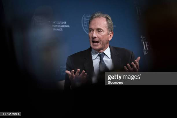 James Gorman, chairman and chief executive officer of Morgan Stanley, speaks during the Institute of International Finance annual membership meeting...