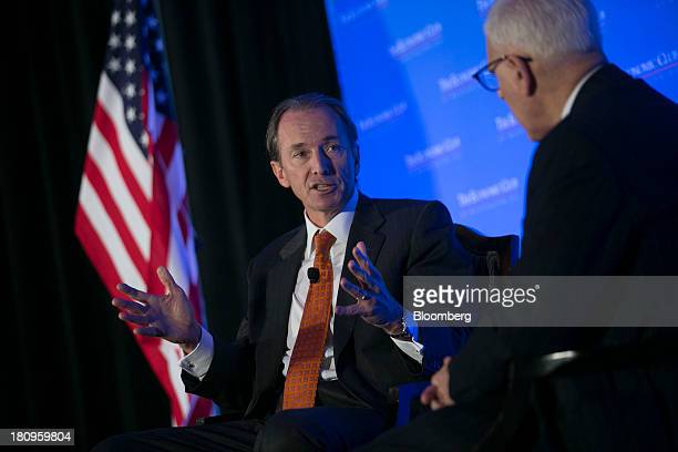James Gorman chairman and chief executive officer of Morgan Stanley left speaks to David Rubenstein cofounder and cochief executive officer of the...