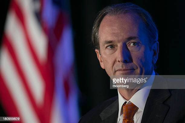 James Gorman chairman and chief executive officer of Morgan Stanley listens to a question during an Economic Club of Washington luncheon in...