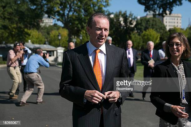 James Gorman chairman and chief executive officer of Morgan Stanley arrives to the White House to meet with US President Barack Obama in Washington...
