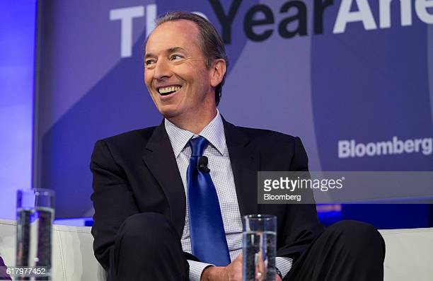 James Gorman chairman and chief executive officer of Morgan Stanley smiles during Bloomberg's fourthannual Year Ahead Summit in New York US on...