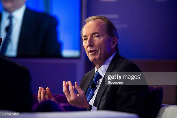 James Gorman chairman and chief executive officer of Morgan Stanley speaks during Bloomberg's fourthannual Year Ahead Summit in New York US on...