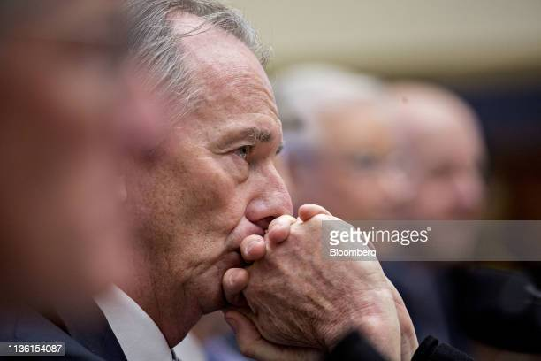 James Gorman chief executive officer and chairman of Morgan Stanley listens during a House Financial Services Committee hearing in Washington DC US...