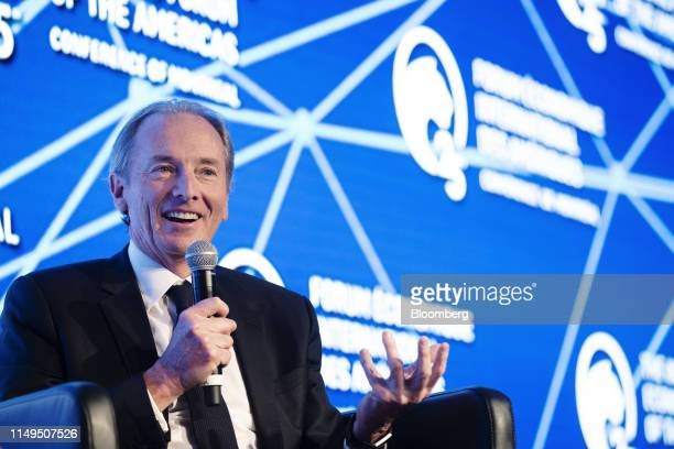 James Gorman chief executive officer and chairman of Morgan Stanley speaks during the International Economic Forum Of The Americas in Montreal Quebec...