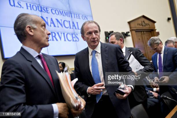James Gorman chief executive officer of Morgan Stanley center exits during a break of a House Financial Services Committee hearing in Washington DC...