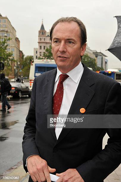 James Gorman chief executive officer of Morgan Stanley departs after attending an Institute of International Finance meeting in Washington DC US on...