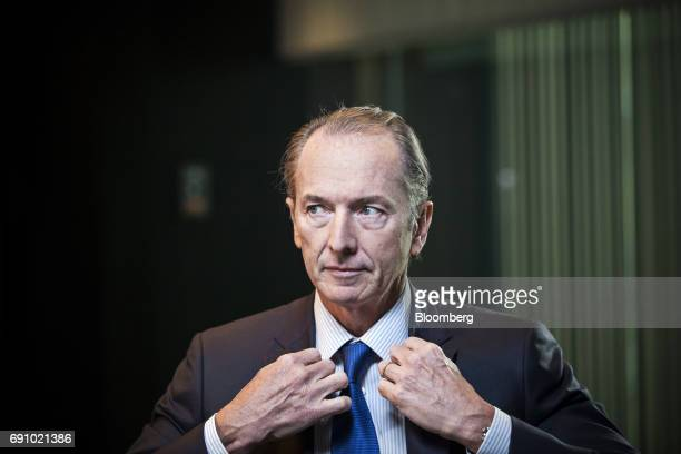 James Gorman chief executive officer of Morgan Stanley fixes his jacket during a Bloomberg Television interview on the sidelines of the Morgan...