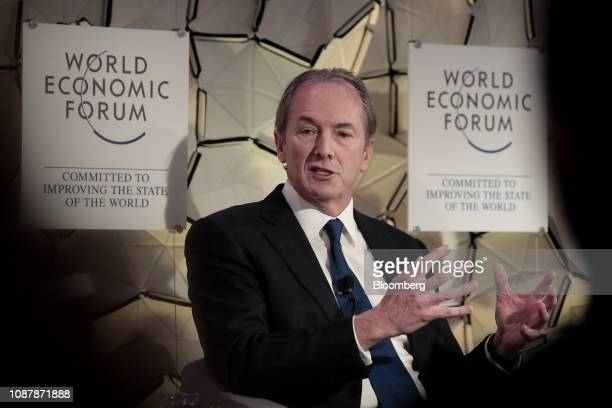 James Gorman chief executive officer of Morgan Stanley gestures as he speaks during a panel session on day three of the World Economic Forum in Davos...