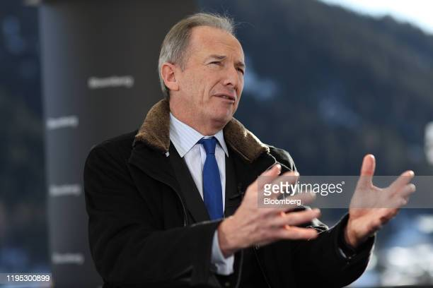 James Gorman, chief executive officer of Morgan Stanley, gestures as he speaks during a Bloomberg Television interview on day two of the World...