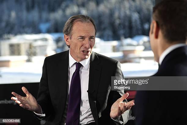 James Gorman chief executive officer of Morgan Stanley gestures as he speaks during a Bloomberg Television interview at the World Economic Forum in...