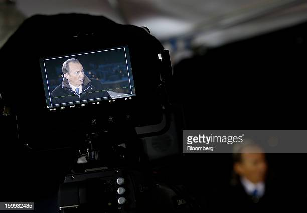 James Gorman chief executive officer of Morgan Stanley is seen through the viewfinder of a camera during a Bloomberg Television interview on the...