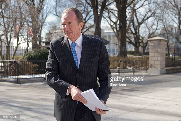 James Gorman chief executive officer of Morgan Stanley leaves the White House following a meeting with US President Barack Obama in Washington DC US...