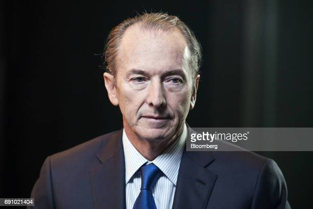 James Gorman chief executive officer of Morgan Stanley listens during a Bloomberg Television interview on the sidelines of the Morgan Stanley China...