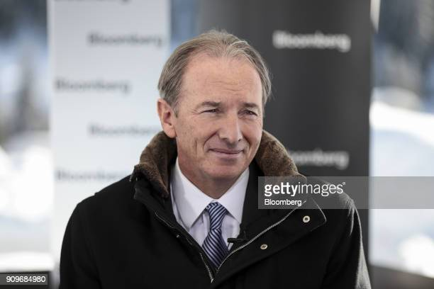 James Gorman chief executive officer of Morgan Stanley looks on during a Bloomberg Television interview on day two of the World Economic Forum in...