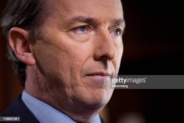 James Gorman chief executive officer of Morgan Stanley pauses before a Bloomberg via Getty Images Television interview in New York US on Wednesday...