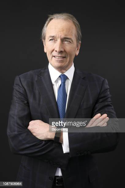 James Gorman chief executive officer of Morgan Stanley poses for a photograph following a Bloomberg Television interview on day three of the World...