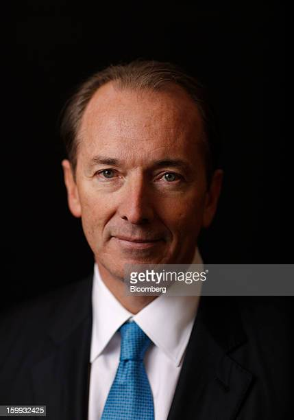 James Gorman chief executive officer of Morgan Stanley poses for a photograph after a Bloomberg Television interview on the opening day of the World...
