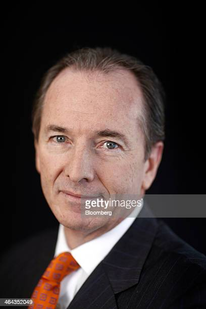 James Gorman chief executive officer of Morgan Stanley poses for a photograph following a Bloomberg Television interview on the opening day of the...