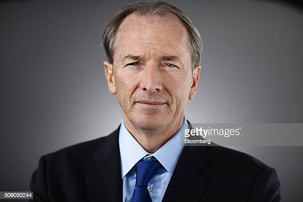 James Gorman chief executive officer of Morgan Stanley poses for a photograph following a Bloomberg Television interview in Davos Switzerland on...