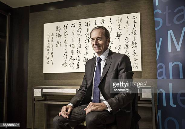 James Gorman chief executive officer of Morgan Stanley poses for a photograph ahead of a Bloomberg Television interview on the sidelines of the...