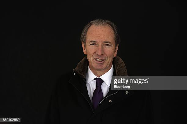 James Gorman chief executive officer of Morgan Stanley poses for a photograph following a Bloomberg Television interview at the World Economic Forum...