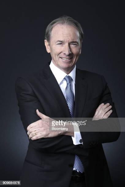 James Gorman chief executive officer of Morgan Stanley poses for a photograph following a Bloomberg Television interview on day two of the World...