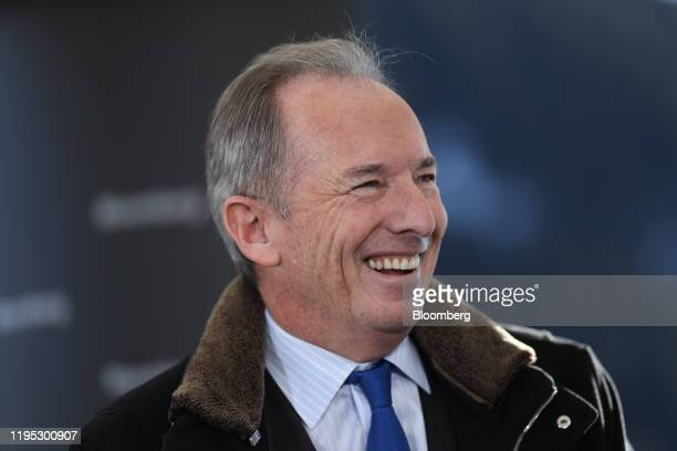 James Gorman, chief executive officer of Morgan Stanley, reacts during a Bloomberg Television interview on day two of the World Economic Forum in...