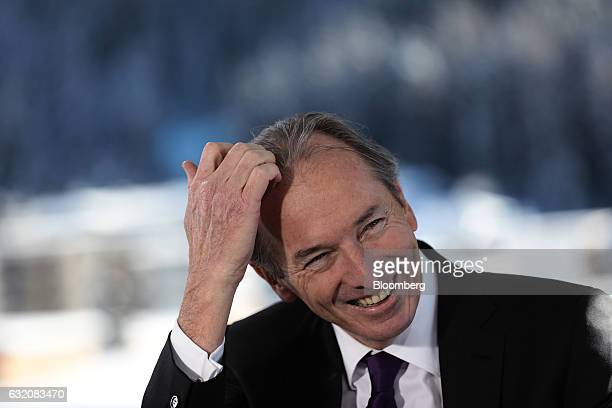James Gorman chief executive officer of Morgan Stanley reacts during a Bloomberg Television interview at the World Economic Forum in Davos...