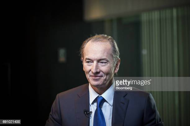 James Gorman chief executive officer of Morgan Stanley reacts during a Bloomberg Television interview on the sidelines of the Morgan Stanley China...
