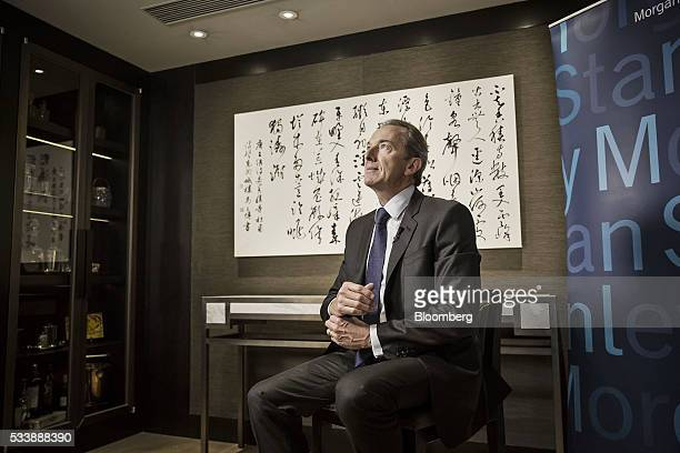 James Gorman chief executive officer of Morgan Stanley sits ahead of a Bloomberg Television interview on the sidelines of the Morgan Stanley China...