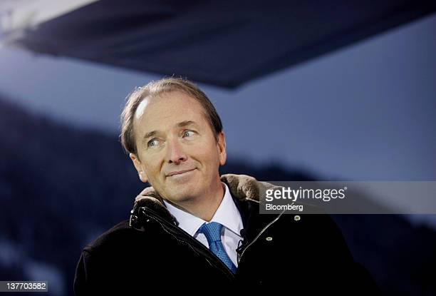 James Gorman chief executive officer of Morgan Stanley smiles before a television interview during day one of the World Economic Forum in Davos...