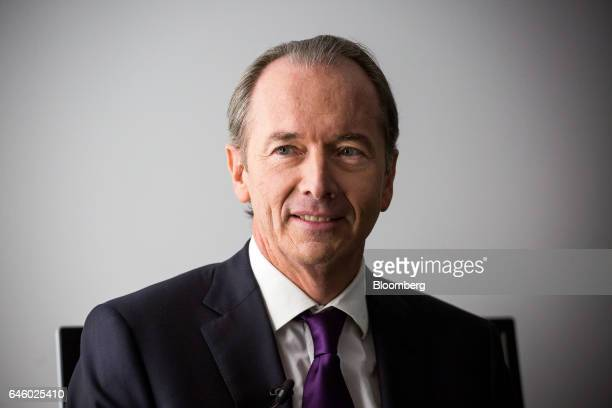 James Gorman chief executive officer of Morgan Stanley smiles backstage before an interview on The David Rubenstein Show in New York US on Monday Feb...
