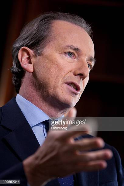 James Gorman chief executive officer of Morgan Stanley speaks before a Bloomberg via Getty Images Television interview in New York US on Wednesday...
