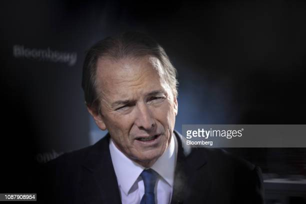 James Gorman chief executive officer of Morgan Stanley speaks during a Bloomberg Television interview on day three of the World Economic Forum in...