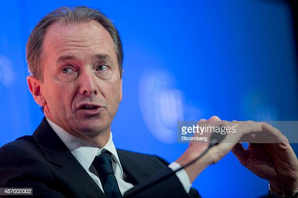 James Gorman chief executive officer of Morgan Stanley speaks during an Institute of International Finance panel discussion in Washington DC US on...