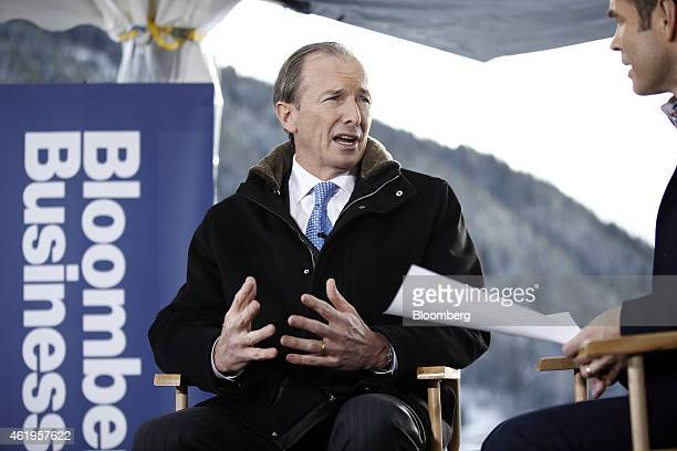 James Gorman chief executive officer of Morgan Stanley speaks during a Bloomberg Television interview on day two of the World Economic Forum in Davos...