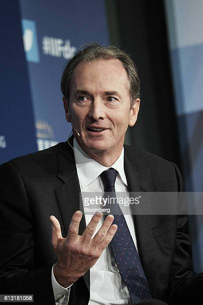 James Gorman chief executive officer of Morgan Stanley speaks during a panel discussion at the 2016 IIF Annual Membership Meeting in Washington DC US...